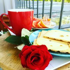 Breakfast in the sun with tea and a book.. #metime  #rose #breakfast #saturday #relaxing #enjoying #sun #happy
