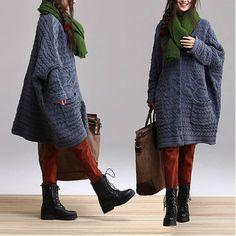 cotton sweater wool sweater knitwear large knitted sweater loose sweater tops long women open sweater cardigan- Blue