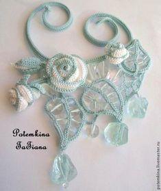 """Колье """"Легенда о Ледяной Розе"""" - голубой,аква-кварц,колье с камнями,колье ручной работы"""