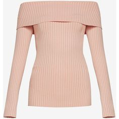 BCBGMAXAZRIA Risa Off-The-Shoulder Sweater (€170) ❤ liked on Polyvore  featuring tops, sweaters, off shoulder tops, pink pullover sweater, pink  off the ... da46e8a501