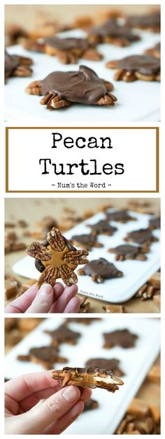 These Pecan Turtles are quick, easy and elegant. They are the perfect mix of swe… These Pecan Turtles are quick, easy and elegant. They are the perfect mix of sweet and salty and make a great thank you or neighbor gift! Köstliche Desserts, Chocolate Desserts, Delicious Desserts, Dessert Recipes, Chocolate Candies, Chocolate Liquor, Cake Chocolate, Yummy Food, Holiday Baking
