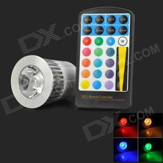 Brand: N/A; Model: XLZM-RGB5; Material: Aluminum; Color: White; Quantity: 1; Emitter Type: LED; Total Emitters: 5; Power: 5 W; Color BIN: RGB; Rate Voltage: 85~265 V; Luminous Flux: 200~260 lm; Chip Working Voltage: 3~3.3V; Color Temperature: No K; Wavelength: Red: 635~655, green: 515~525, blue: 455~465 nm; Connector Type: GU10; Application: Home lighting; Packing List: 1 x Spotlight1 x Remote control (1 x CR2025); http://j.mp/1q1rHVR