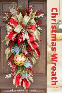 This amazing Christmas swag will get your front door noticed this holiday. This gorgeous floral evergreen wreath can take you from Christmas all the way through winter. Made on an evergreen base, this Christmas wreath is loaded with red and gold sprays, gorgeous ornaments and decadent designer ribbons. This elegant Christmas wreath could be the perfect Valentine's wreath too. #christmaswreath #christmasdecor #evergreenwreath #christmasswag #allthingsamore Christmas Wreaths For Front Door, Christmas Swags, Christmas Signs Wood, Elegant Christmas, Holiday Wreaths, Holiday Crafts, Door Wreaths, Holiday Decor, Christmas Ideas