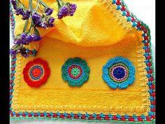 Modelos de borde de toalla y crochet de punto y crochet - Crochet Crochet Towel, Crochet Fabric, Crochet Art, Crochet Flowers, Crochet Potholder Patterns, Crochet Motifs, Youtube Crochet, Crochet Accessories, Ribbon Embroidery