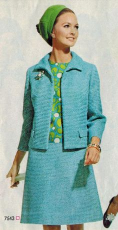 60s blue suit wool mod jacket skirt graphic print shell top green circles vintage fashion 1968 | Envisioned in budding green flannel and clear blue tweed by Simplicity ...