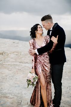 Carley & Trent's Glamorous Blue Mountains Elopement - Beautiful alternative wedding dress, upscale engagement outfits, or reception dress Source by jasseeey - Rose Gold Wedding Dress, Edgy Wedding, Sequin Wedding, Glamorous Wedding, Perfect Wedding, Wedding Gowns, Gold Dress, Vegas Wedding Dresses, Paris Wedding