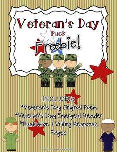 Veteran's Day FREEBIE Pack! (Original Poem, Emergent Reade