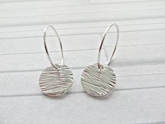 Silver textured earrings Fine silver earrings Bark by AllthingsBAB