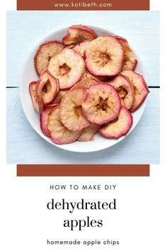 How to make dehydrated apple chips in dehydrator. Dehydrated apples make a healthy snack!  Make slices or rings apple chips in dehydrator. This is an easy recipe for apple chips with cinnamon or without. Learn how to make home made dried apple chips and how to store them. #apples #dehydrator