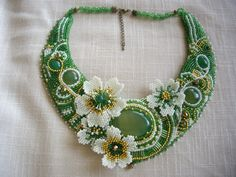 bead embroidery necklace, embroidered jewelry,  handmade necklace