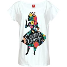Amazon.com: Womens White Disney Alice In Wonderland Floral Silhouette... ($35) ❤ liked on Polyvore featuring disney