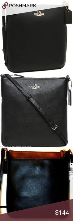 "NWT Coach Black Leather Swingpack Crossbody North Guaranteed 100% Authentic! NWOT  Coach Signature Crossgrain Leather Swingpack/Crossbody  Premium Tanned Black Hatch Cross grain Leather Trim, zipper pull tab, border and strap anchors are all made leather Front with Gold Tone ""Coach New York Horse and Carriage emblem Back Pocket with Magnetic closure Top closing zipper, large interior lined compartment with pocket and Leather Creed Water & Stain resistant treated Adjustable strap, gold tone…"