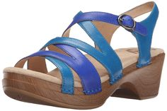 Dansko Women's Stevie Blue Multi Wedge Sandal >>> Additional details at the pin image, click it  - Wedge sandals