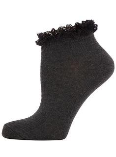 Charcoal lace top socks