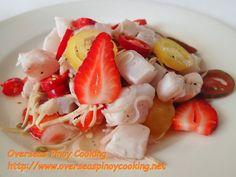 Kinilaw na Tanguigue sa Strawberry, Strawberry Flavored Kinilaw Filipino Dishes, Filipino Recipes, Sinigang, Sisig, Calamansi, Fish And Meat, Pinoy Food, Fruit Salad, Pork