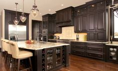 Kitchen : Exquisite Awesome Modern Kitchen Cabinet Trends 53 For Your With 2017 Kitchen Cabinet Trends Astonishing kitchen cabinet ideas 2017 New Kitchen Ideas' Cherry Kitchen Cabinets' Kitchen Cabinet Design as well as Kitchens Chalk Paint Kitchen Cabinets, Espresso Kitchen Cabinets, Rustic Kitchen Cabinets, Dark Wood Kitchens, Staining Cabinets, Rustic Kitchen Design, Kitchen Cabinet Colors, Black Kitchens, Kitchen Colors