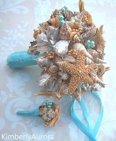 Made to Order Custom Details Bridal Bouquet of Shells (Sandy Sugar Style Aqua). FULL PAYMENT