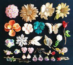 Vintage Enamel Flower Mix LOT Rhinestone Brooch Pin Earrings Daisy Rose! Se172