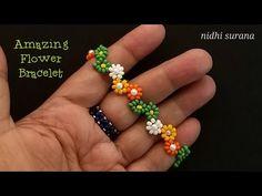 Beaded Braclets, Beaded Bracelets Tutorial, Beaded Anklets, Seed Bead Bracelets, Seed Beads, Beaded Flowers Patterns, Beaded Necklace Patterns, Bon Look, Bracelets Fins