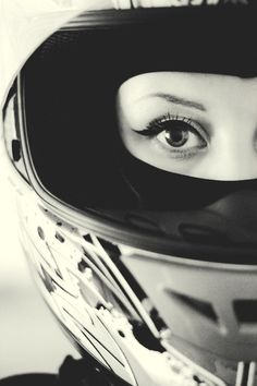 Female rider, full face helmet, beautiful