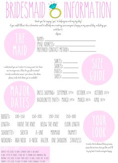 This downloadable Bridesmaid Information Card is ideal for the ultimate organized Bride!    These Bridesmaids Information Cards are designed to keep
