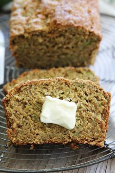 Zucchini Banana Bread Recipe on twopeasandtheirpo. This easy and healthy quick bread is a great way to use up summer zucchini and brown bananas! Easy Bread Recipes, Banana Bread Recipes, Baking Recipes, Quick Bread, Healthy Recipes, Just Desserts, Delicious Desserts, Dessert Recipes, Yummy Food