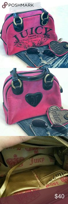 "Juicy Couture Suede Bag Hot pink, perfect for Spring!  Outer, removable heart clip mirror.  Brass harness and zippers. 1 zipper and 2 side pockets inside with another mirror.  Dark brown straps and embroidered lettering.  6x9x3"". Excellent condition! Observe last photo..2 tiny pin holes on inside pouch, which will never be seen while in use. Juicy Couture Bags Satchels"