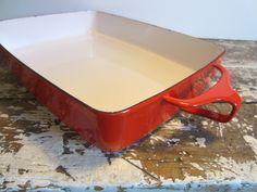 Vintage Red Dansk Casserole Dish Rectangular Baking Dish Enamel Cookware. $45.00, via Etsy.