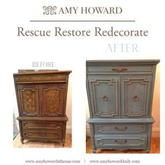 Rescue Projects! #inspiration #diy Before and after using the Amy Howard At Home Vintage Affliction One Step Paint