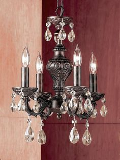 Classic Lighting 8334 EB SC Gabrielle, Crystal, Mini-Chandelier, English Bronze - - Amazon.com $225