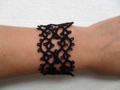 Bracelet dentelle noire, dentelle frivolite, tatting, tatted