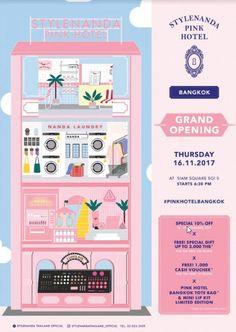 Popular Korean Brand Stylenanda to Open Flagship 'Pink Hotel' Store in Bangkok This November! Stylenanda Pink Hotel, 3ce Makeup, Korean Brands, Makeup Brands, Bangkok, Special Gifts, Korean Fashion, Invitations, Image