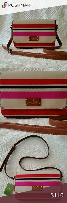KATE SPADE OAK ISLAND STRIPE CROSS BODY Kate Spade Flynn Oak Stripe Crossbody Bag. Long strap for shoulder or crossbody wear. Features 1 slip pocket, and 1 zip enclosed pocket in addition to the main compartment. Magnetic front closure.  Brown leather trim. 100% authentic , never used Kate Spade  Bags Crossbody Bags