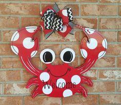 Crab Door Hanger Wood Door Hanger Beach Decor by TheRedWoodBarn