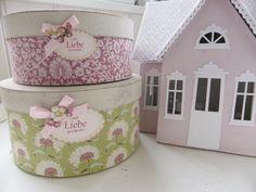 """Geschenkschachtel+Set+""""Addie+Pink""""+von+Die+Kleine+Stoffwerkstatt+auf+DaWanda.com"""