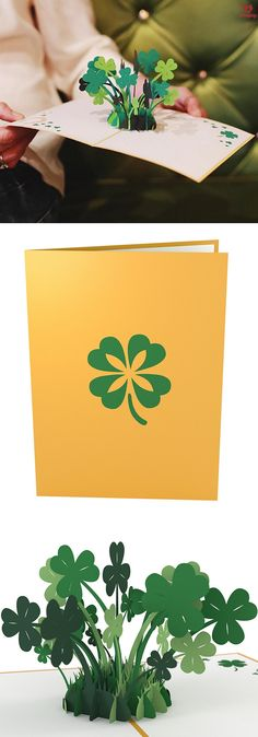 Gift the luck of the Irish with a 3D pop up card full of green shamrocks. Happy St. Patrick's Day in a paper art card. #StPattysDay #LuckyIrish