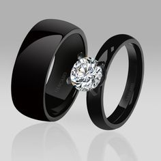 Black Wedding/ Engagement Ring Solitaire Style White Cubic Zirconia Couple Rings for Women