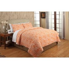 @Overstock - Penelope Orange Cotton 3-piece Quilt Set - The Penelope quilt set can be added to any bedroom for maximum comfort and style. Constructed of 100-percent cotton, the quilt features a zebra pattern in an orange finish. Two shams are included to complete the look.   http://www.overstock.com/Bedding-Bath/Penelope-Orange-Cotton-3-piece-Quilt-Set/9078417/product.html?CID=214117 $129.99