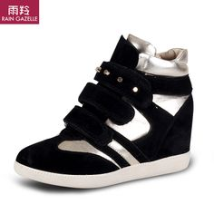 2014 Spring Isabel Marant Style Women Wedge Sneakers Height Increasing Shoes Platform PU Leather Platform Casual Boot $49.00