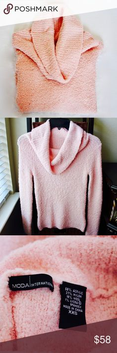 [Moda International] Boucle Cowl Neck Sweater Moda International boucle cowl neck sweater in a beautiful blush pink color. Super soft and warm! Worn once and in excellent condition. Size XXS. Moda International Sweaters Cowl & Turtlenecks