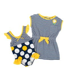 Look at this Wippette Gold & Navy Polka Dot One-Piece & Cover-Up - Infant & Toddler on #zulily today!