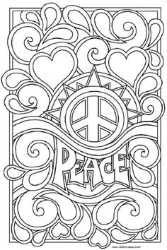 peace and love coloring pages coloring pages for kids - Printable Colouring Page
