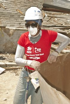 Love this! Karen Pereira volunteering at the Staten Island Women Build Week site