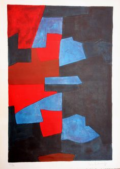 Serge Poliakoff Composition in Red, Blue and Black Fabulous holiday gift to brighten your home