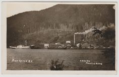 PORT ALICE, B.C. A photo postcard, which shows a view of the Whalen Pulp and Paper mill and cargo ship, as seen from Neroutsos Inlet at Port Alice. Port Alice was a purpose built town for the company's employees and their families. Card is published by Ben W. Leeson, Quatsino. Has WOB with the date May 26, 1928.