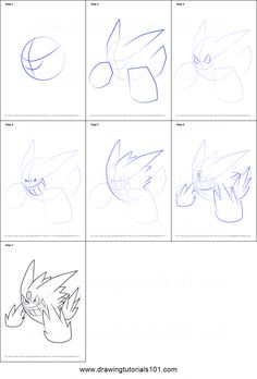 How to Draw Mega Gengar from Pokemon printable step by step drawing sheet : DrawingTutorials101.com