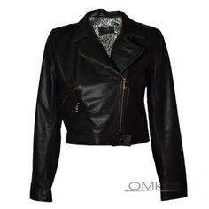 jaqueta de couro feminina curta preta com zíper torto