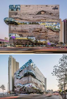 Architecture firm OMA has recently completed the Galleria, a department store located in Gwanggyo, South Korea, that has a textured mosaic stone facade and multifaceted glass accents Movement Architecture, Facade Architecture, Beautiful Architecture, Classical Architecture, Mall Facade, Building Facade, Building Elevation, Building Exterior, Stone Facade