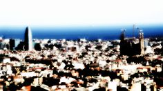 Barcelona, Spain: View of La Sagrada Familia from Parc Guell