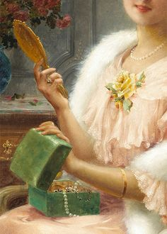 A Young Lady With a Mirror by Émile Vernon (detail